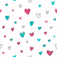 Seamless Hand Drawn Hearts Pattern. White Background.
