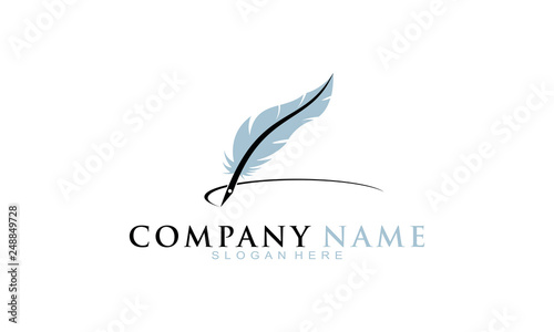 Feather pen vector logo Canvas Print