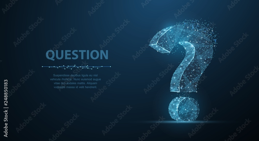 Fototapeta Question mark. 3d abstract vector on dark blue background with dots and stars. Ask symbol.
