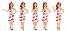 Woman Character In Dress Set W...