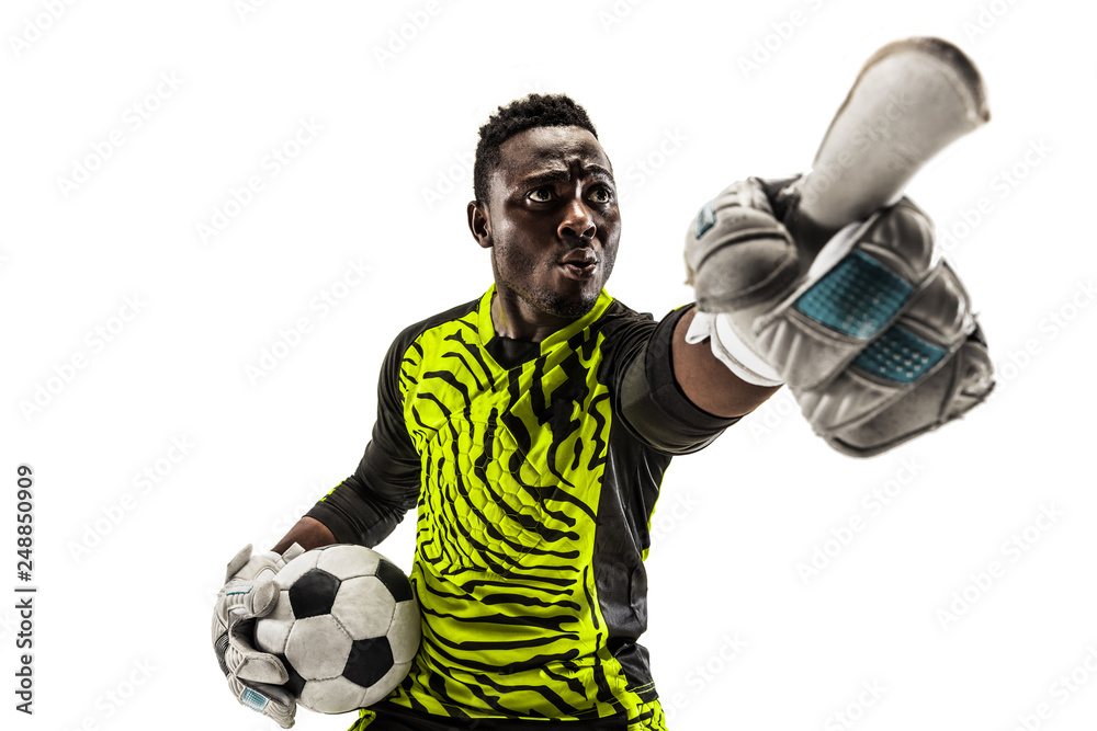Fotografie, Obraz One african male soccer player goalkeeper pointing away and screaming isolated on white background