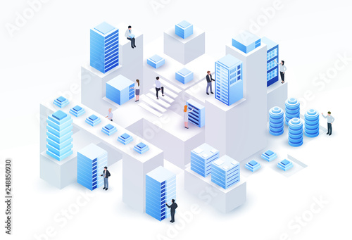 Fotografía 3d isometric concept big data center with server or hosting and peoples