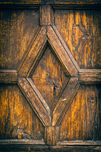 Detail On Panel Of Old Wooden Door With Diamond Shape