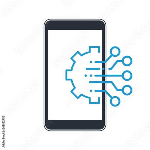Multifunctional, multi-channel smart gadget. Vector icon, white background. Fototapete