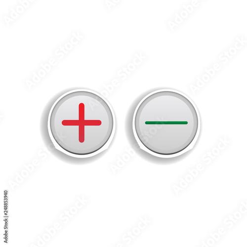 Fotografía  plus and minus button colored sticker icon