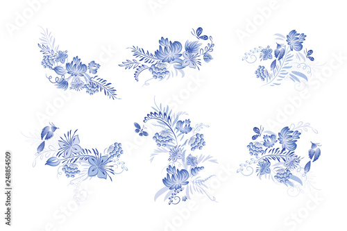 Set Of Blue Watercolor Flowers And Bird With Watercolor