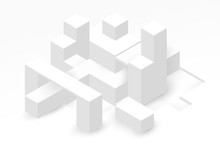 Abstract Isometric Background With White Geometric Shapes. Minimalistic Modern Composition. Vector Illustration.