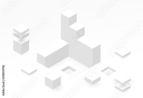 Abstract isometric background with white geometric shapes Poster Mural XXL