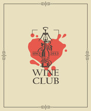 Wine Club Emblem With Bottle A...