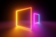canvas print picture - 3d rendering, yellow pink squares, neon light, blank frames, abstract ultraviolet background, glowing lines, portal, vibrant colors, empty virtual windows, night club interior, fashion podium
