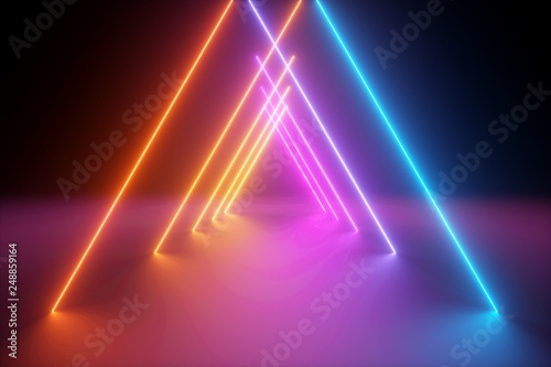3d render, yellow pink blue neon light, abstract ultraviolet background, triangl Wallpaper Mural
