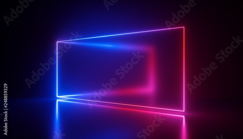 3d rendering, neon lights, abstract ultraviolet background, laser show, rectangu Canvas Print