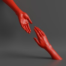 3d Render, Female Hands Isolated, Minimal Fashion Background, Helping Hands, Red Mannequin Body Parts, Partnership Concept