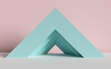 Fototapeta Perspektywa 3d - 3d render, abstract background, triangle, corner, primitive geometric shapes, pastel color palette, simple mockup, minimal design elements