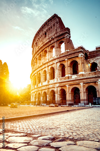 Garden Poster Rome The ancient Colosseum in Rome at sunset