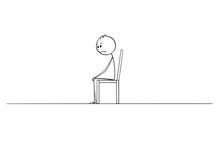 Cartoon Stick Figure Drawing Of Lonely Man Sitting In Depression Alone In Empty Room Or Space On Chair.