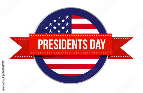 Fotografía  Presidents day US flag seal and ribbon icon illustration design