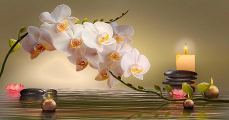 Fototapeta Do salonu Wandbild mit Orchideen, Steinen im Wasser und schwimmenden Kerzen