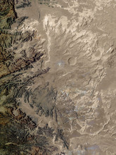In The Arid Interior Of Yemen, Ancient Rocks Stand Astride Dry River Beds And Mighty Sand Dunes. Collage. Elements Of This Image Furnished By NASA.