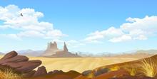 A Vulture Flying Across The Desert Landscape. Over View Of A Flat Desert Landscape.