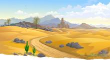 Sand Dunes Across Hot Australian Desert, Summer Time, Mountains, Cactus And Cliffs.