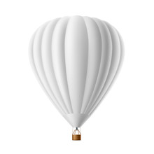 Vector Hot Air Balloon White Mockup Isolated