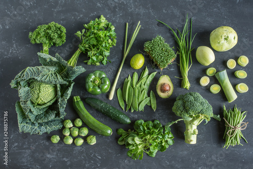 Green vegetables and fruit selection