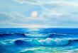 canvas print picture - Seascape  painting .Sea wave.