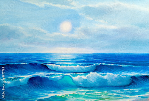 Fond de hotte en verre imprimé Abstract wave Seascape painting .Sea wave.
