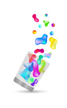 Abstract Multicolored 3d Gradient Liquid Drops In A Glass On A White Background