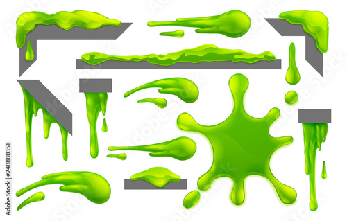 Set of slime or mucus liquid green goo blobs, splats, drips and drops design ele Canvas Print