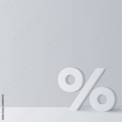 Fotografia  Grey background with white percentage sign for sale or discount.