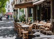 canvas print picture - Boulevard San-German with tables of cafe in Paris, France