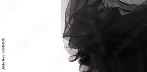 Fotografía Abstract composition of black tulle material  isolated on white background
