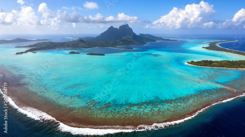 Fotografie, Obraz Aerial View of Bora Bora Island and Lagoon