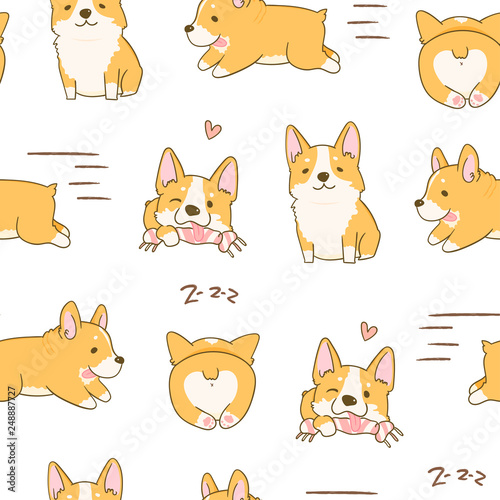Kawaii playful Corgi dogs in various poses. Hand drawn colored vector seamless pattern