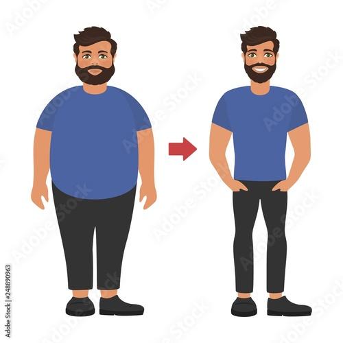 Foto Sad fat and happy healthy slim man