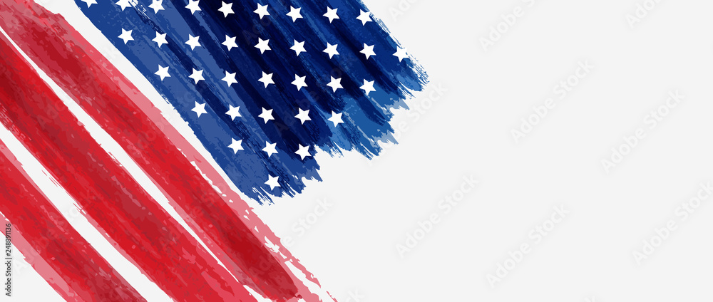 Fototapety, obrazy: Background with USA painted flag