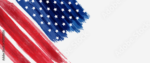 Fotografía  Background with USA painted flag