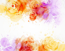 Watercolor Background With Roses