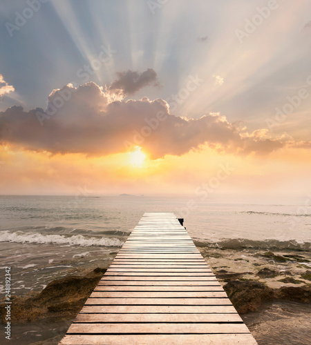 Foto-Schiebegardine Komplettsystem - Wood bridge on the sea which has walk way for travel with beautiful sky and sunshine background.