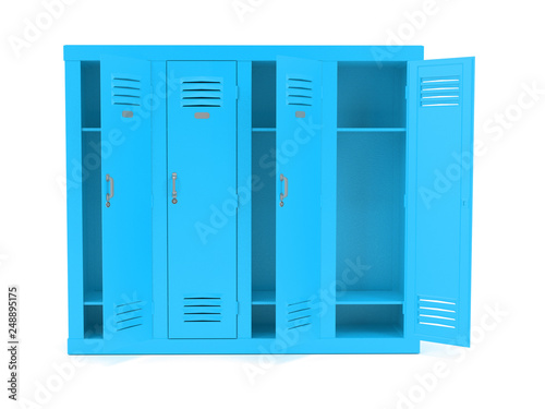 Foto  Blue lockers with open doors