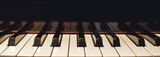 Learn how to play piano. Close up view of black and white piano keys. Musical instrument