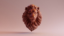 Chocolate Clay Adult Male Lion Bust Sculpture Front 3d Illustration 3d Render