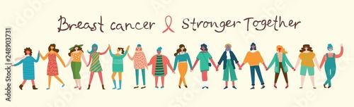Fotografija  Vector illustration concept flat design of women of the world against breast cancer