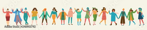 Fotografía  Colorful vector illustration concept of Happy women or girls standing together and holding hands
