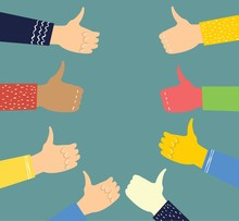 Vector Illustration Of Hands With Thumbs Up In Flat Style. Concept Of Public Approval, Acknowledgment By Audience, Positive Opinion, Recognition