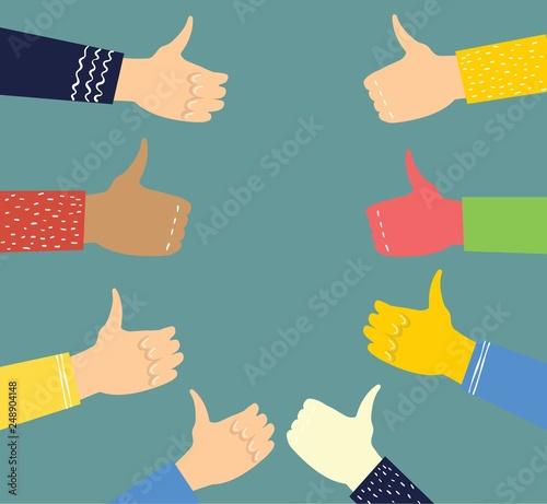 Vector illustration of hands with thumbs up in flat style Canvas Print