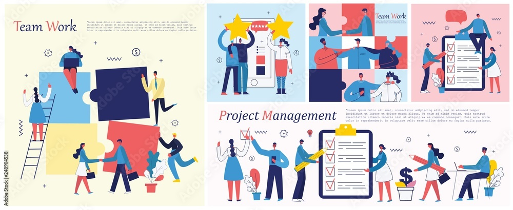 Fototapety, obrazy: Vector illustrations of the office concept business people in the flat style. E-commerce, time management, start up, digital marketing and mobile advertising business concept