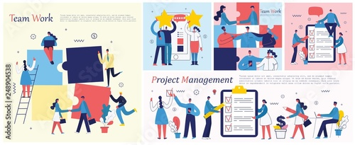 Vector illustrations of the office concept business people in the flat style. E-commerce, time management, start up, digital marketing and mobile advertising business concept